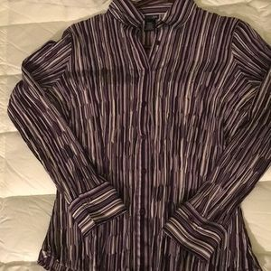 East 5th Purple/white striped blouse